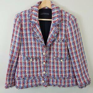 ZARA-Womens-Tweed-Blazer-Jacket-Size-M-or-AU-12-or-US-8
