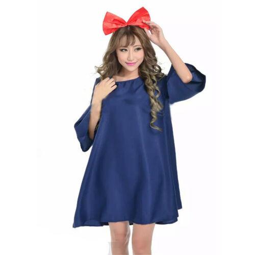 Women Kiki Delivery Service Cosplay Fancy Dress Dress Headwear Halloween Costume