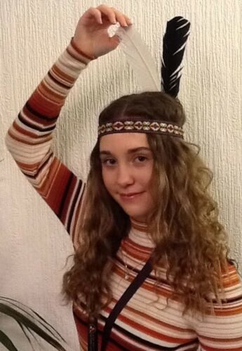 Indian Princess Woven HeadBand With Two Feathers UK.Dispatch