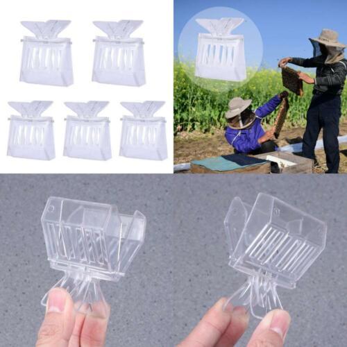 VORCOOL 5pcs Beekeeping Queen Bee Cage Catcher Clips Transparent Plastic