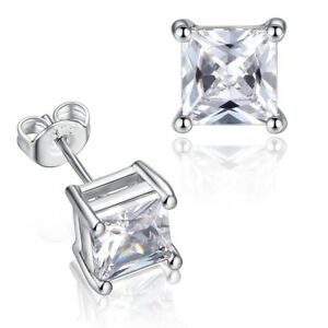 3be0da95a2223 Details about Silver Stainless Steel Mens Punk hip hop Square 8mm CZ Stud  Earrings Fashion