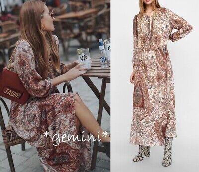Zara Boho Hippie Vestito Maxi Tunica Motivo Floreale lungo Stampato | eBay