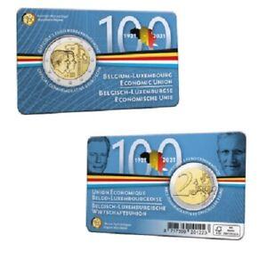 Coincard 2 Euros Commémorative Belgique Union Economique 2021 BU