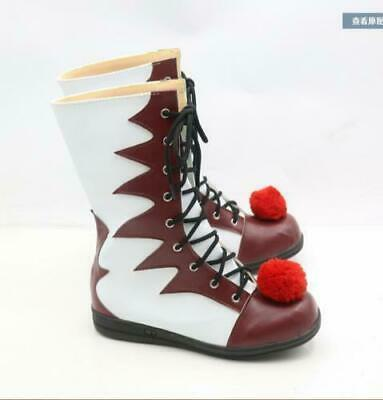 Unisex Halloween Shoes Lace Up Cosplay Pennywise Mid-Calf Boots Carnival Clown