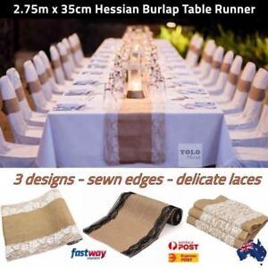 Hessian-Burlap-Jute-Lace-Table-Runner-2-75m-Rustic-Wedding-Party-Decor-AUS