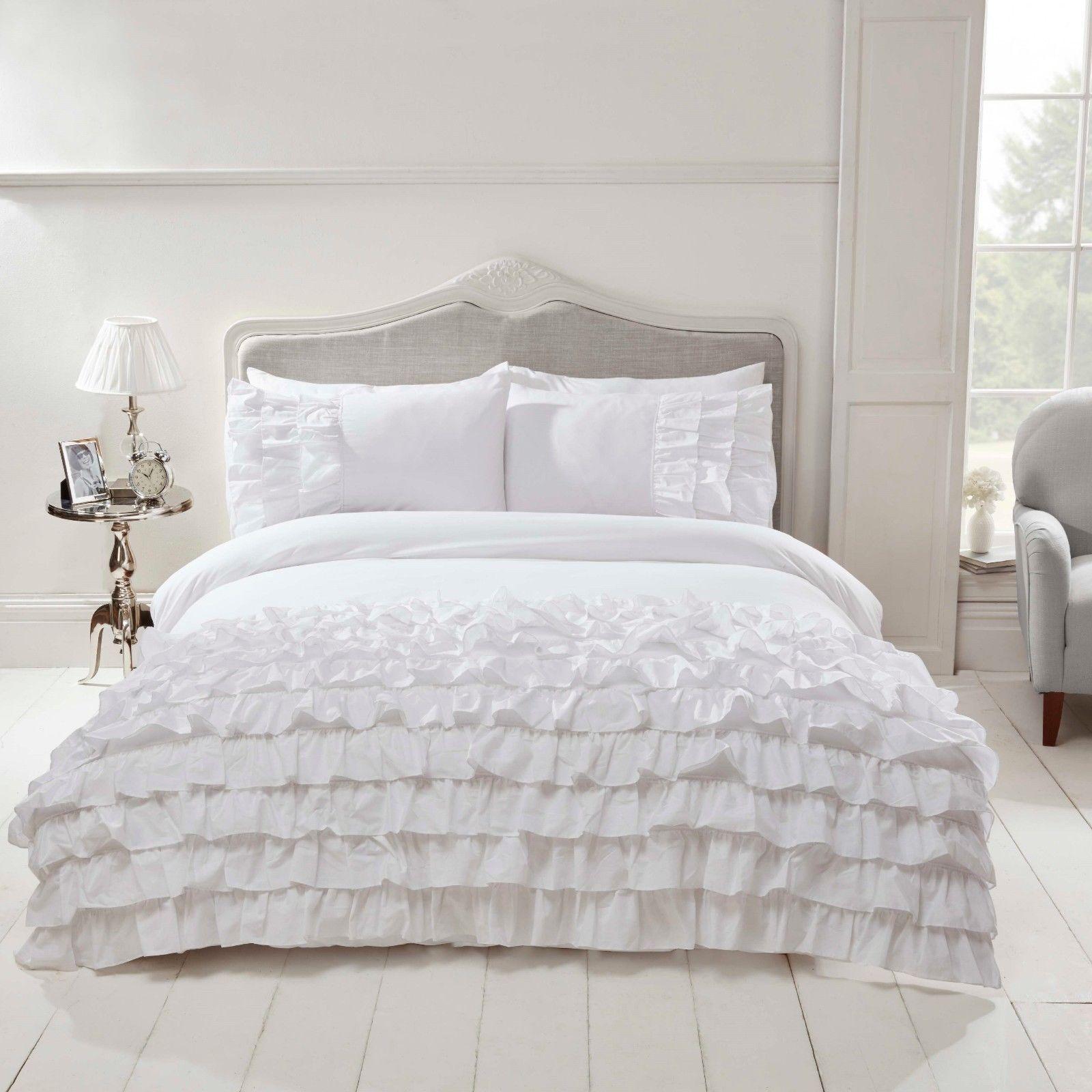 Rapport Flamenco White Quilt Cover Luxury Frills Ruffles Bedding Set  FREE P&P