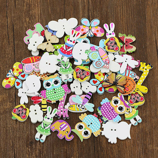 DIY Amazing 50Pcs Mixed Animal 2 Holes Wooden Buttons Sewing Craft Scrapbooking