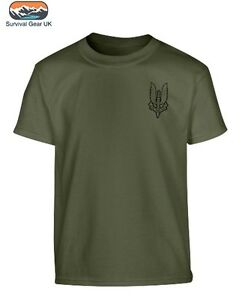 Enfants-Armee-Britannique-SAS-T-shirt-100-Coton-Top-7-8-9-11-12-13-ans-double-face