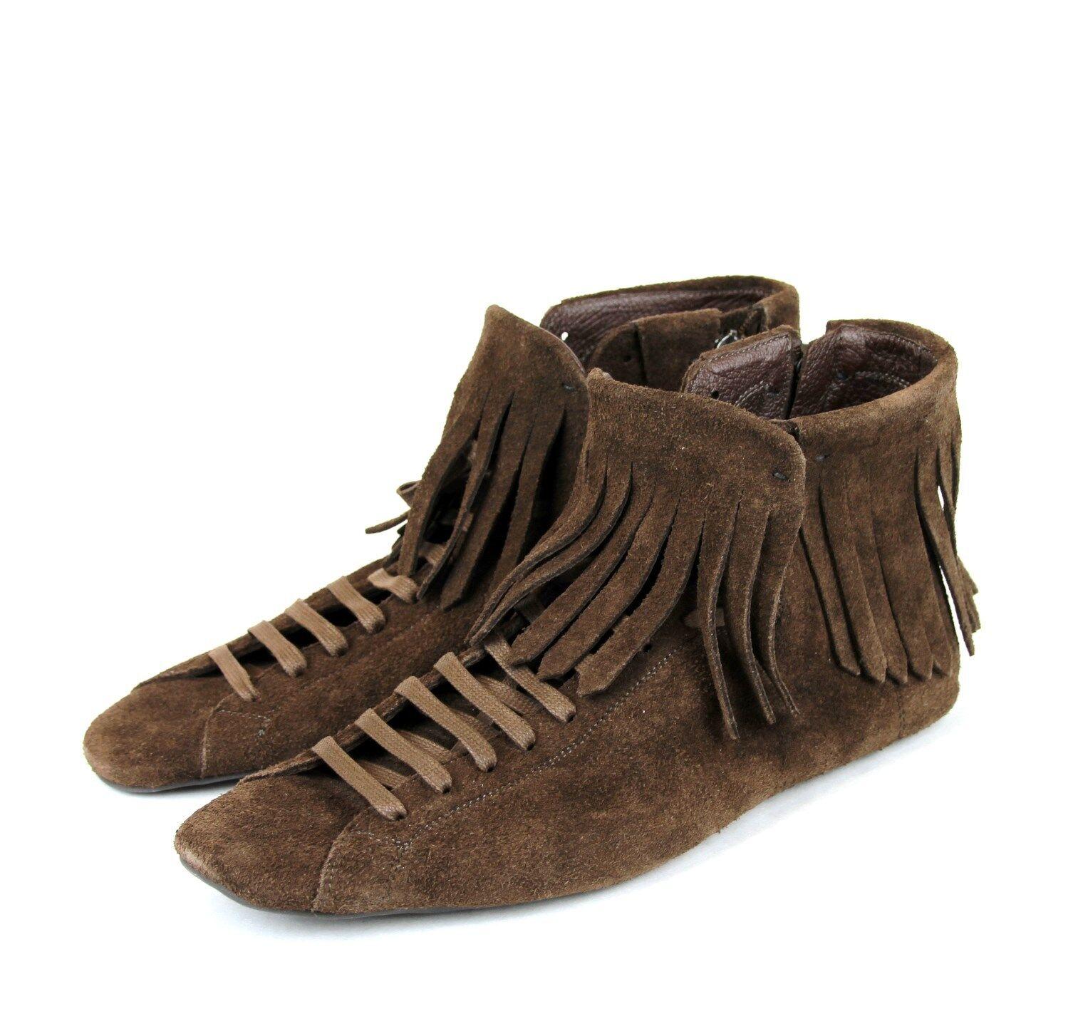 Nuovo Originale Bottega Veneta Camoscio con Frange scarpe da ginnastica Stivali, Marronee,
