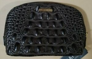 Brahmin-Tina-Make-up-Cosmetic-Bag-Clutch-Caviar-Melbourne-Croc-Embossed-Leather