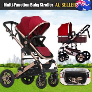 8-in-1-Foldable-Baby-Stroller-Pram-amp-Bassinet-Newborn-Jogger-Travel-Pushchair-AU