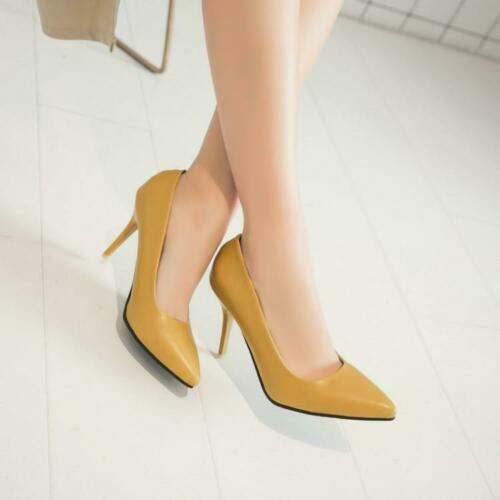 Womens Formal Business Pointed Toe Shoes High Stiletto Heel Plus Size Pumps HOT