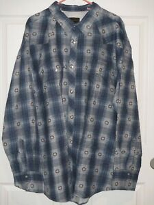 High-Noon-Mens-Size-3XL-Long-Sleeve-Pearl-Snap-Flannel-Western-Shirt-Navy-New