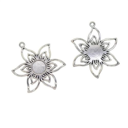 10x Filigree Flower Blank Cabochon Bezel Settings DIY Jewelry Pendants Base