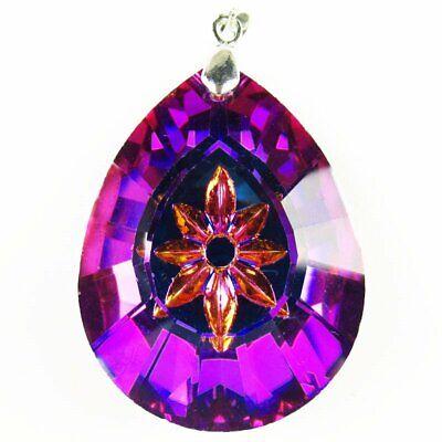 2Pcs Faceted Blue Purple Titanium crystal Teardrop Pendant Bead H257SJ