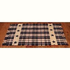 New Primitive Country Farmhouse BLACK STAR Plaid Woven Floor Mat Area Rug