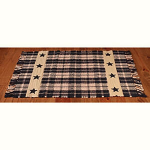 Image Is Loading New Primitive Country Farmhouse Black Star Plaid Woven