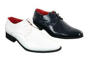 mens patent shiny pu leather laced shoes smart casual
