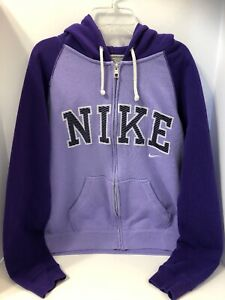 Details about Nike The Athletic Dept Womens Purple Striped Reversible Hoodie L Full Zip A23