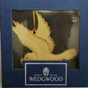 1996-Wedgwood-White-Jasper-Ware-Christmas-Ornament-w-Box-039-DOVE-039-NEW