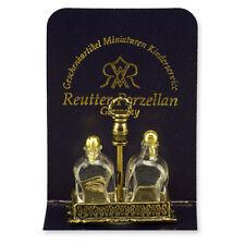 Reutter Porzellan Whiskeyflaschenset / Glass Brandy Bottle Set Puppenstube 1:12