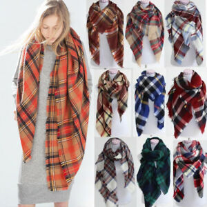 Women-Blanket-Oversized-Tartan-Scarf-Wrap-Shawl-Plaid-Cozy-Checked-Pashmina-Lot