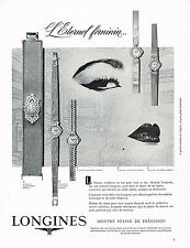 PUBLICITE ADVERTISING 044   1960   LONGINES  montres ETERNEL FEMININ