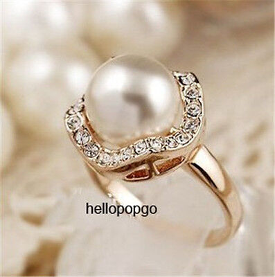 18K Rose Gold Gp Plated Austrian Crystal Pearl Fashion Jewelry Ring BR1444
