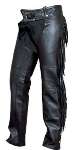 CLOSE OUT SALE AL2407 Ladies Fringed Soft Solid Leather Motorcycle Chaps Lined