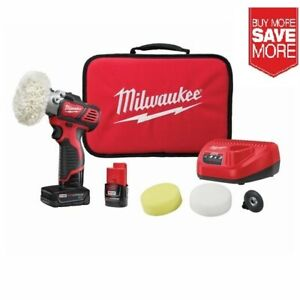"Milwaukee 2438-22X M12 3"" Spot Polisher Kit with 2 Batteries Brand New!"
