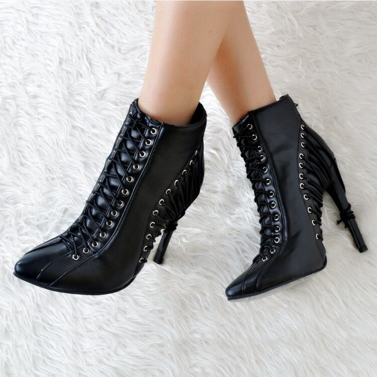 Women Slim High Heel Ankle Boots Winter Pointy Toe Lace up shoes Zippers Plus SZ
