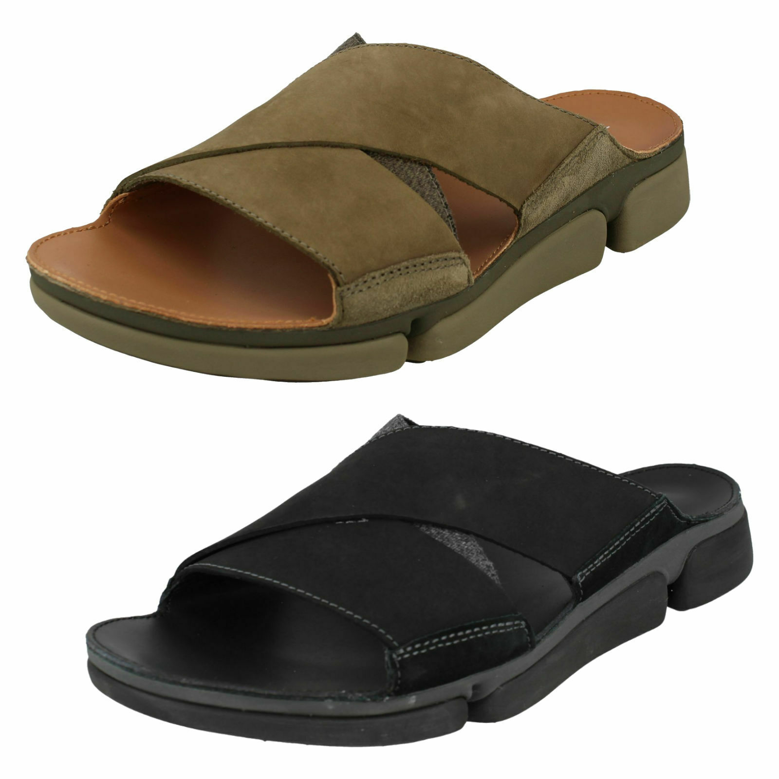 Clarks men leather cross tri Cove slippers sandals fit size summer