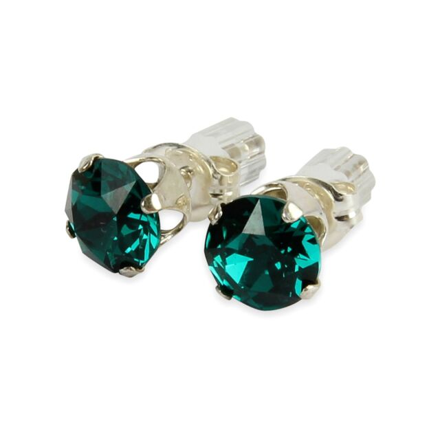 4895e9a06 Sterling Silver 6mm Emerald Green Stud Earrings Made With Crystal From  SWAROVSKI