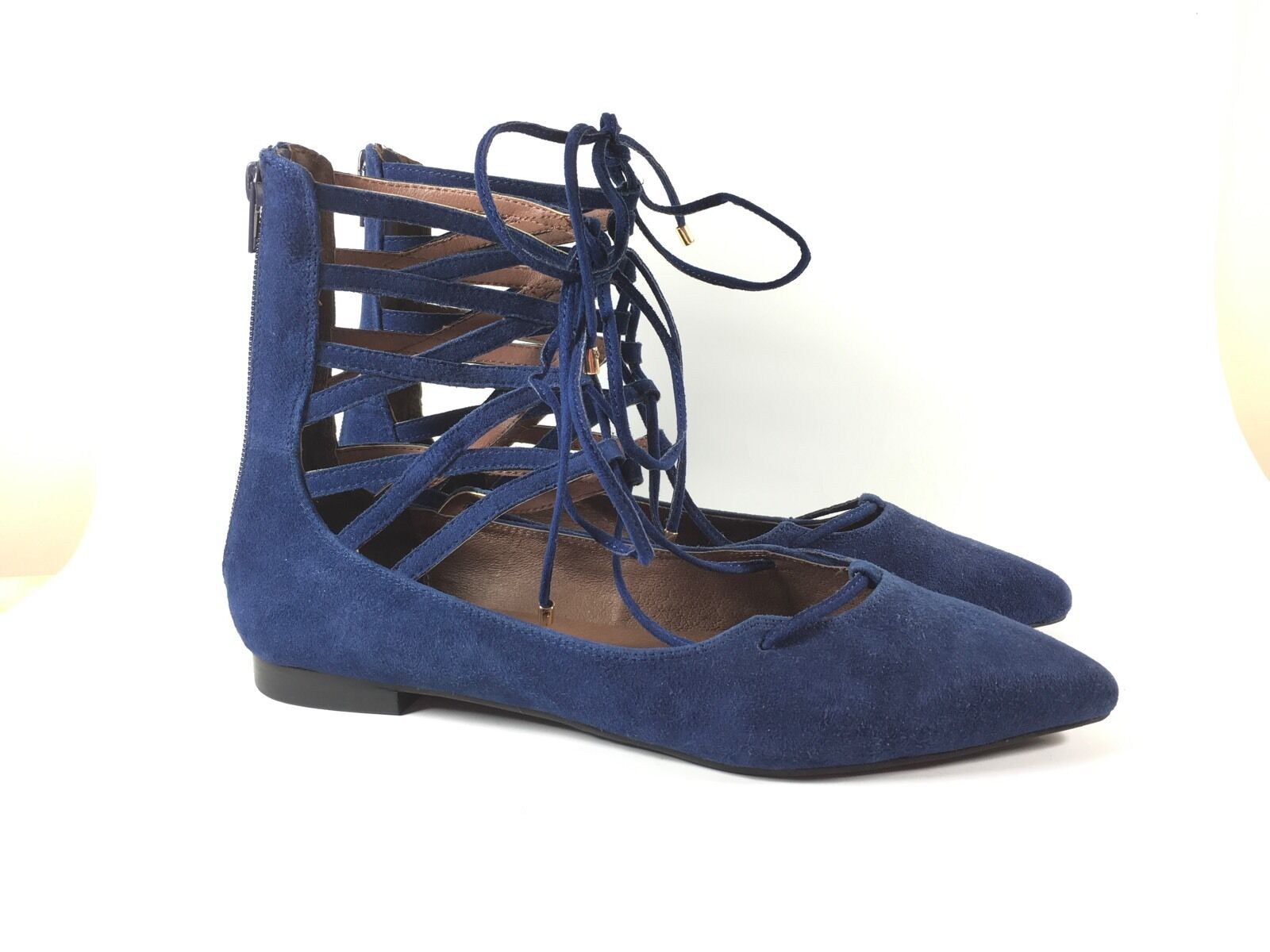 jeffrey campbell Damenss Sandales 9.5 flat Blau suede lace up zipper strap pointed
