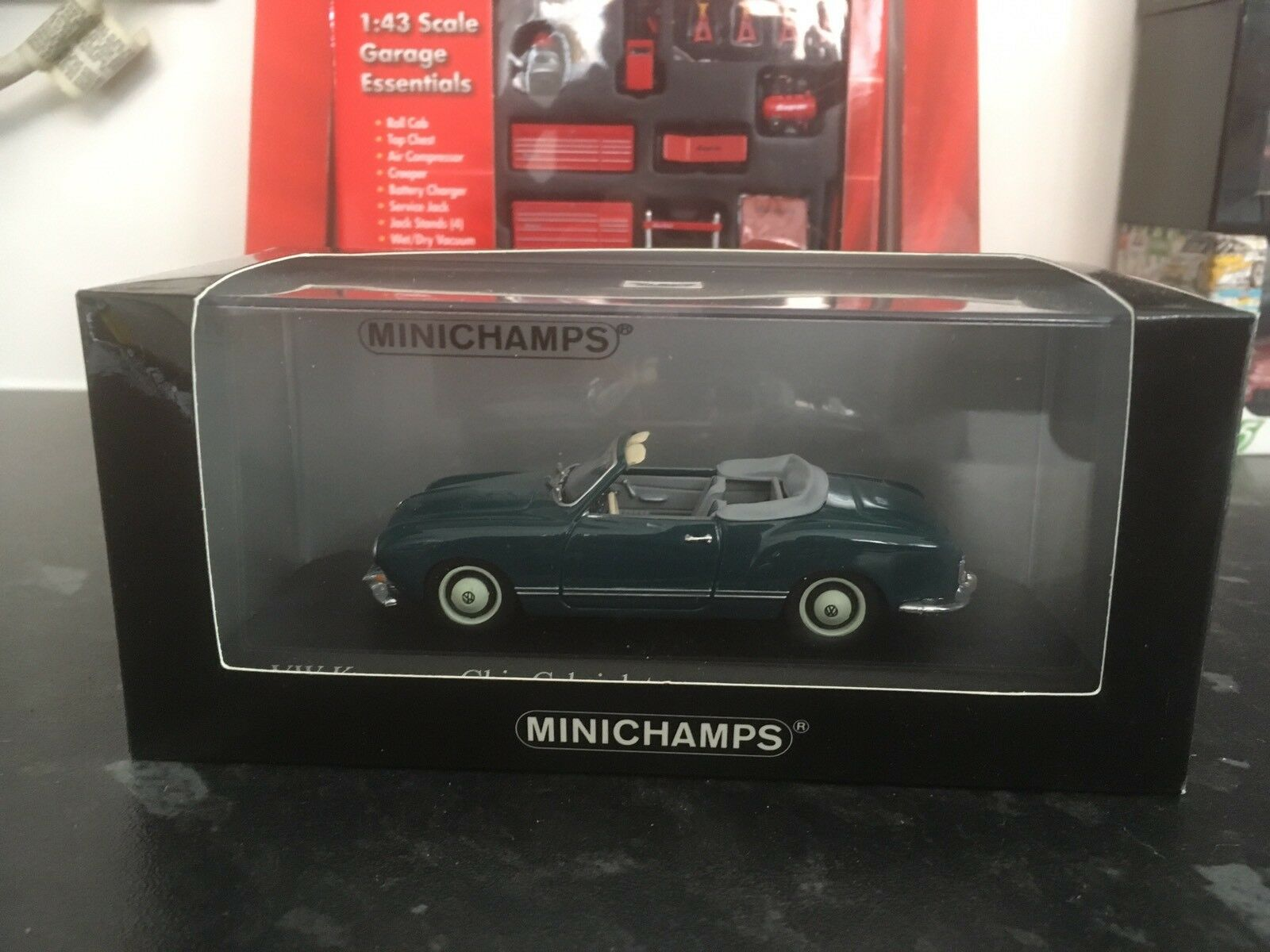 Minichamps VW Karmann Ghia Cabriolet 1957 1957 1957 bluee 1 43 MIB Roof Down Ltd Ed 1008pcs b51101