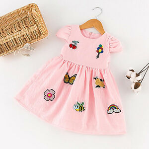 3ef9d0e4d550 Image is loading Toddler-Baby-Kids-Girl-Princess-Party-Embroidery-Short-