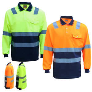 HI VIS Long Sleeve Workwear Shirt w Reflective Tape Cool Dry Safety Polo 2 Tone