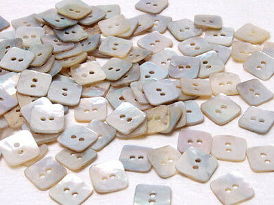 B501 Natural Mother of Pearl Square Shell Buttons Sewing Craft Art 10mm 100pcs