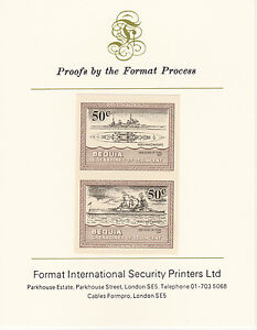 Bequia (2076) - 1985 Warships of WW2 50c imperf on Format Int PROOF CARD