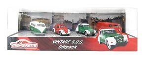Majorette-Modellauto-Metall-4-Pack-Geschenkset-Vintage-SOS-Feuerwehr-Polizei-Set-VW-Deutsch