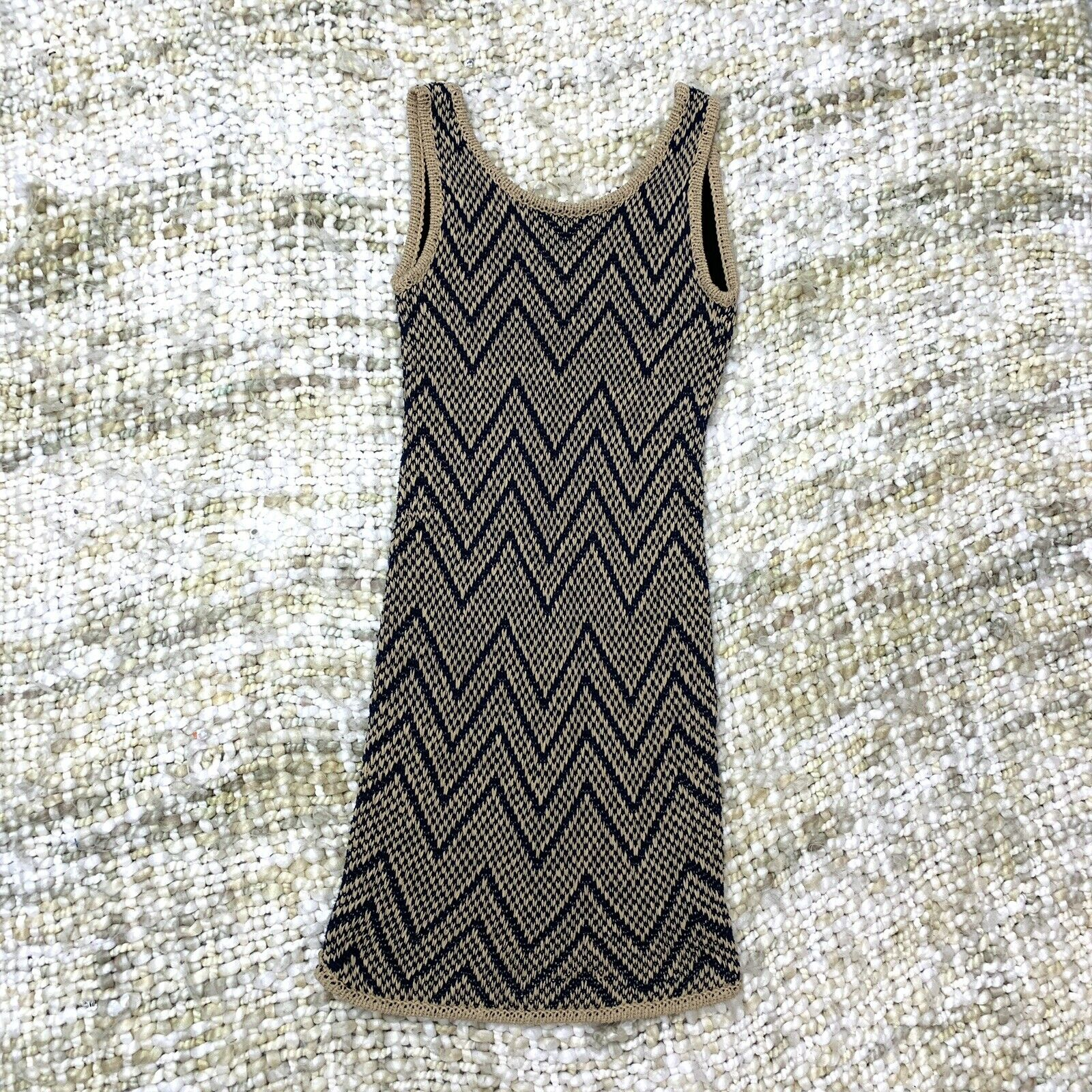 Rag Bone Knit Sleeveless Tank Dress Tan and Blue … - image 2