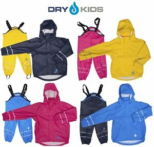 Dry Kids Childrens Waterproof Jacket and Dungarees set PU coated