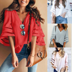 Summer-Women-Fashion-Bell-Flare-3-4-Sleeve-Blouse-Casual-V-neck-T-Shirt-Tops