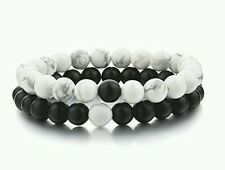 Distance Bracelets - UK seller, 2pcs Black Matt & White 8mm Beads. Lovers gift.