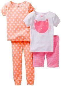 4T, Bedtime Besties Carters Baby Girls 4 Pc Cotton