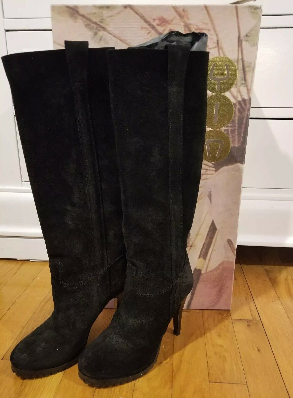 575 New in the box, YIN Sexy Black suede knee high boots size 7, 4 inch heels