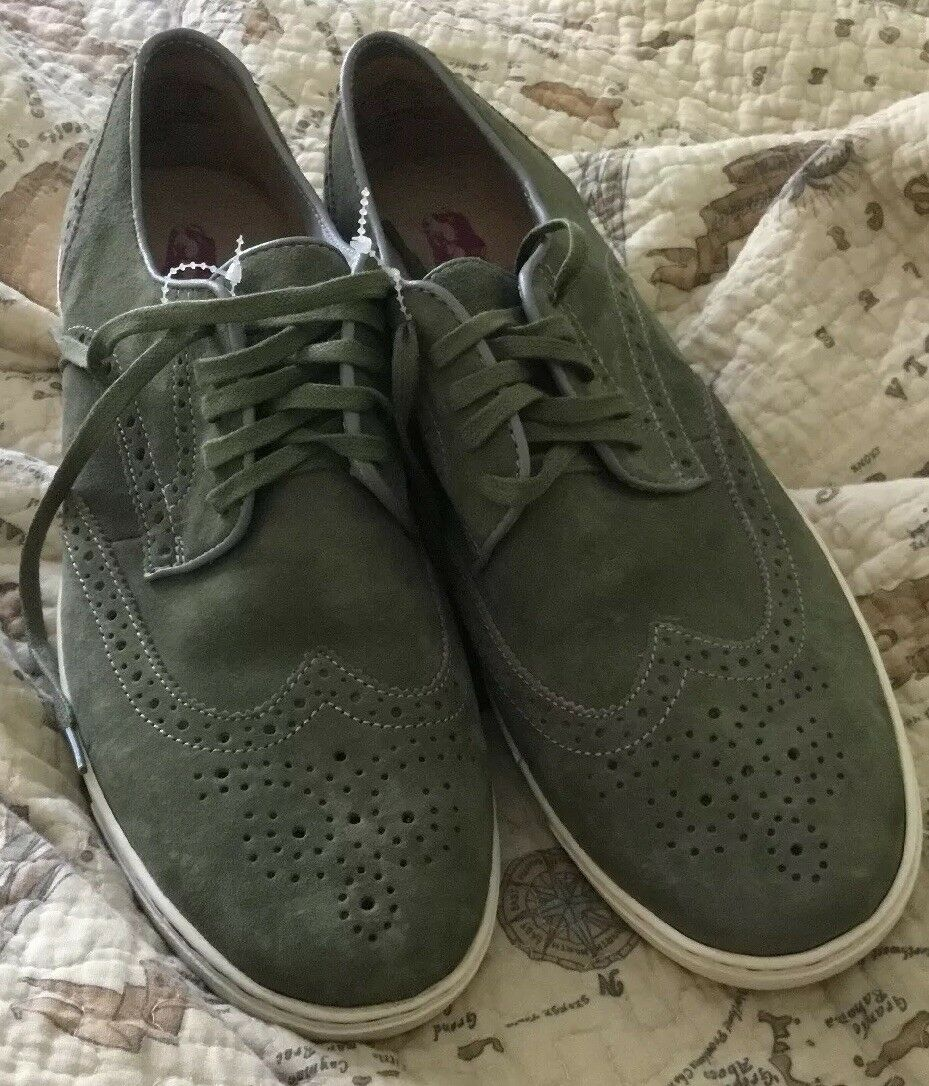 NEW Hush Puppies Mens Suede Carver Oxford Green Sole US 10.5 Mens