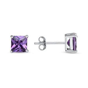 925 Sterling Silver Amethyst Gemstone Square Stud Earrings