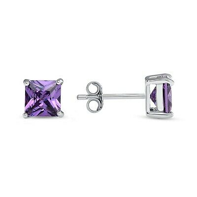 Square Simulated Amethyst /& Cz .925 Sterling Silver Earring