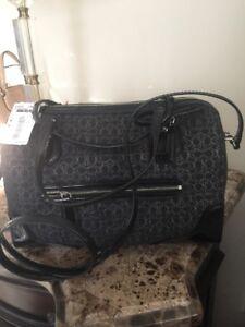RETAIL-248-26426-Coach-Black-Silver-Poppy-East-West-Satchel-Bag-NEW